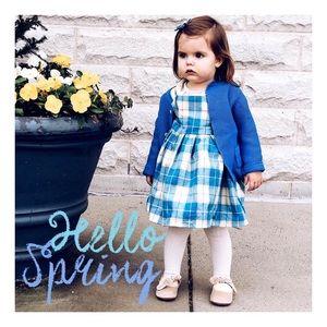 Periwinkle blue plaid dress